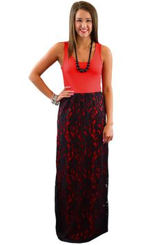 Red Lace Overlay Maxi Dress – The ZigZag Stripe.  How cute is this skirt!!!!  Use coupon code ZZS84 for 10% off and you get FREE shipping