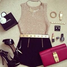 Cute gold & black outfit