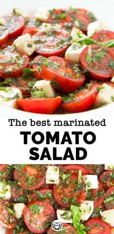 The best marinated tomato salad perfect for your summer gatherings! Best Salad Recipes, Chicken Salad Recipes, Pasta Recipes, Low Carb Recipes, Beef Recipes, Vegetarian Recipes, Cooking Recipes, Healthy Recipes, Healthy Salads