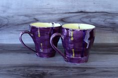Mugs Set, Glaze, My Etsy Shop, Purple, Tableware, Creative, Enamel, Dinnerware, Dishes