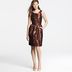 """finally a patterned dress that would look great for bridesmaids! """"henna"""" colored metallic Acetate/acrylic/poly mix - it has pockets! - $385 copper bronze chocolate"""