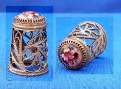 RUSSIAN HAND PAINTED FILIGREE THIMBLE....
