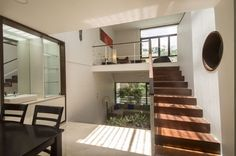split level living and dining areas