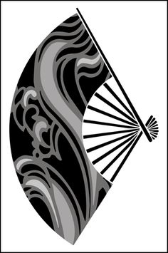 Japanese Wave Fan stencils, stensils and stencles