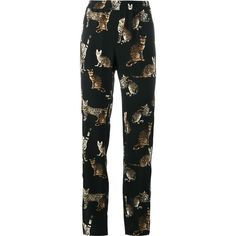 Dolce & Gabbana Dolce & Gabbana Bengal Cat Print Trousers (1,220 CAD) ❤ liked on Polyvore featuring pants, black, silk pants, cat pants, silk trousers, dolce gabbana trousers and stretch waist pants