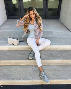 Neutral tones for spring that you could wear to work!! Get more style inspiration on how to wear cute sneakers to work AT SUITSANDSNEAKS.COM !❤