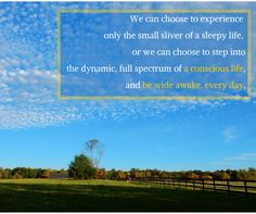Choose to experience the dynamic, full spectrum of a conscious, wide awake life. #inspiration #nature #quote