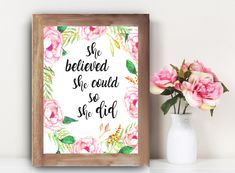 Quiero compartir lo último que he añadido a mi tienda de #etsy: She Believed She Could So She Did, Printable, She believed she could, graduation gift, girls room, girls room decor, inspirational, for her