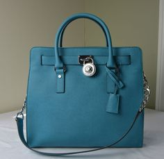 Michael Kors Tile Blue Saffiano Leather Hamilton Large NS Tote  #MichaelKors #TotesShoppers