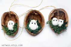 Owl woodland ornaments walnut shell ornaments Nature Gift Tags