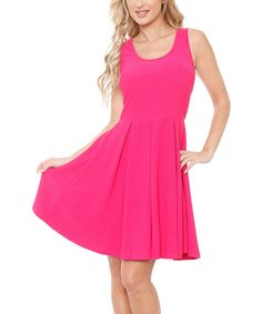 Look at this White Mark Fuchsia Skater Dress on #zulily today!