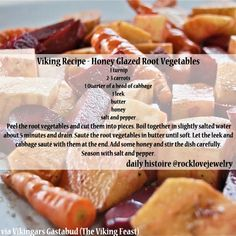 Viking Recipe for Honey Glazed Root Vegetables Medieval Recipes, Ancient Recipes, Vikings, Nordic Diet, Viking Food, Nordic Recipe, Norwegian Food, Scandinavian Food, Vintage Recipes