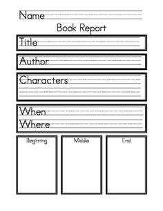 kindergarten book reports