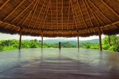 Yoga Shalas - Haramara Retreat. I like the cement floor and the view over the jungle (Heather)