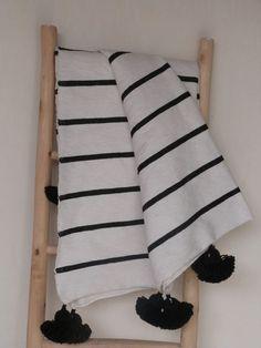 moroccan stripes pom pom blankets black and white throw
