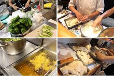 0723 大きな宴会 準備の作業を画像でご覧ください   スタッフ 14時からきて 準備におわれてます。 その準備の作業を、画像アップしました。 ご覧ください。 ①⑤まず最初の画像は、⑦夏野菜煮浸し 無農薬の甘長、ししとう、ピーマンなど 夏にあっさりと・これの準備です。 ②③④フライものです。 国産の菜種油で揚げますので、カラッとあっさりしてます。