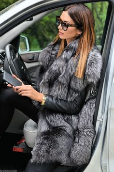 NEW SAGA SILVER FOX FUR VEST CLAS OF JACKET SABLE MINK LYNX CHINCHILLA BLUE LONG | eBay Fox Fur Vest, Fur Gilet, Fur Fashion, Fashion Books, Chinchilla Coat, Cream Vests, Long Fur Coat, Clothes For Women, Jackets
