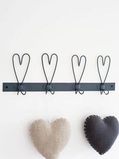 Heart hooks and love the linen hearts