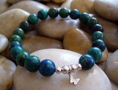 Azurite Yoga Men Bracelet, Chakra Energy Bracelet, Healing Letting Go Jewelry, Relaxation Bracelet, For Wisdom, Freedom Butterfly Jewelry