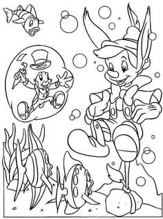 Ocean Coloring Pages | Cartoon Peter Pan In Sea Water Coloring Pages For Kids