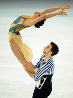 Spain's Sara Hurtado and Spain's Adria Diaz compete in the Figure Skating Ice Dance Free Dance at the Iceberg Skating Palace during the Sochi Winter Olympics.