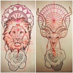 Lion and Deer Tatoos