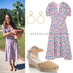 The Duchess of Cambridge's outfit for visit to The Nook on 25 June 2020 Kate Middleton Outfits, Kate Middleton Style, Duchess Kate, Duchess Of Cambridge, Royal Fashion, Fashion Sets, Faithfull The Brand, Modest Fashion, Nook