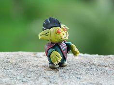 Goblin figurine, green forest goblin, mini terrarium miniature, fantasy sculpture, woodland creature, fairy garden sculpture, OOAK clay art