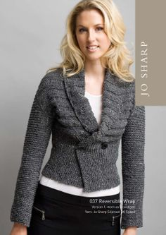 Reversible Wrap. The finished garment may be worn either as a cardigan or upsidedown as a bolero. Free download.