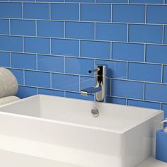 """Glass Subway Tile (Azure) - 3"""" x 6"""" Piece. $1.87 Per Tile from Wholesalers USA"""