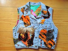 OOAK Embellished Vintage Denim Vest PSYCHEDELIC DREAM - Feathers, Leather and Fur - Fully Lined - Upcycled Repurposed Recycled Clothing