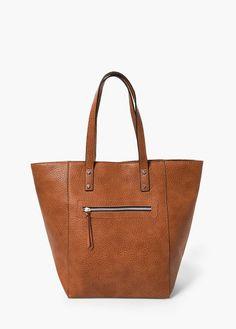 Pebbled shopper bag   MANGO