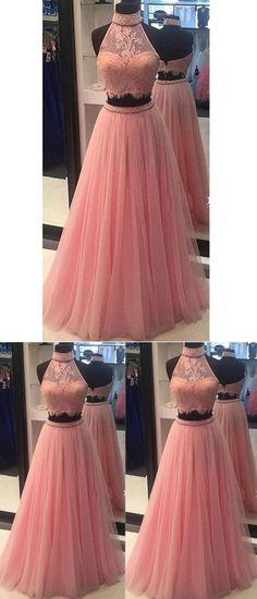 Beautiful Two Piece Prom Dresses High Neck Long Sexy Prom Dress/Evening Dress JKL221