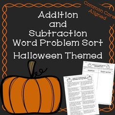 Halloween Addition and Subtraction Word Problem Sort! Great Halloween math activity for third and fourth grades!