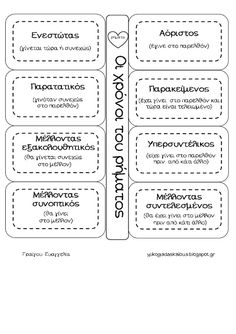 Teachers Aid: Οι χρόνοι του ρήματος School Staff, School Notes, School Fun, Learn Greek, Teachers Aide, Greek Language, School Levels, Grammar Worksheets, Learning Process