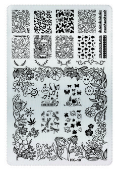• Various happy and floral designs nail stamping plate  • Plate measures 9.5cm by 14.6cm  • Be aware the edges of these plates are very sharp