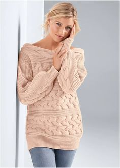 BOAT NECK CABLE KNIT SWEATER - Gemma Fashion