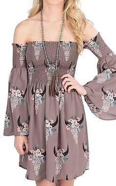 Peach Love Women's Taupe with Skull Flower Print Long Sleeve Dress | Cavender's