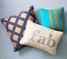 Clinton Kelly's DIY Designer Metallic Accent Pillows - Use freezer paper to create a super-sharp stencil design