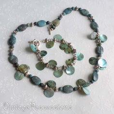 Silver & Faux Turquoise & Shell Necklace & Bracelet Set