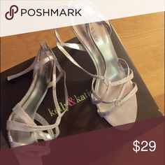 🚨FINAL PRICE Glam dress shoes Silver glam slingback heels, great for wedding season! Size 11 comes with box, worn once. Minor scuffing on bottom otherwise in perfect condition. Kelly & Katie Shoes Heels