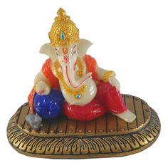 Sitting Mukut Gaddi Ganesh / Ganesha / Ganpati Statue Marble Finish