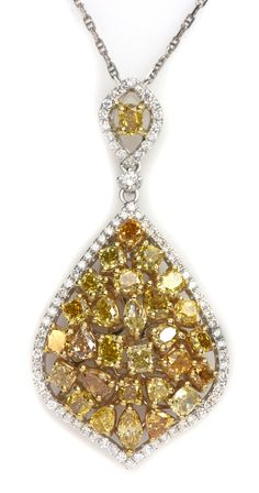 Yellow Diamond, Champagne Diamond, & White Diamond Necklace. Item #394-231216 3.96 ctw Multi Color Diamond Multi-shape 14K 2 Tone Gold Pendant Length 18 - Gem Shopping Network