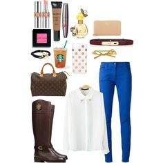 """""""love the color combo"""" by nkimayer on Polyvore cobalt blue skinny jeans white blouse"""