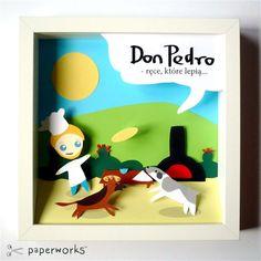 Piotrek zamierza otworzyć pizzerię. Na obrazku są jego dwa psy, w tle kwitnąca opuncja.    Styl: Bajkowy