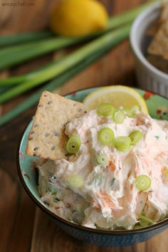 This rich and creamy smoked salmon cream cheese dip is great with crackers or spread on bagels, and it only takes a few minutes to prepare!
