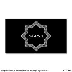 Elegant Black & white Mandala Art Logo Yoga Business Card