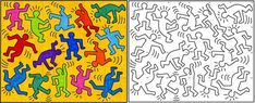 Keith Haring - – was an artist and social activist whose work responded to the New York City street culture of the By expressing concepts of birth, death, sex and war, Haring's imagery has become a widely recognized visual language of th Keith Haring Kids, Keith Haring Prints, Ecole Art, Fantasy Kunst, Collaborative Art, Middle School Art, Arts Ed, Arte Pop, Elements Of Art