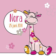 Geboortekaartje voor een meisje, voorzien van een kleurrijke giraffe.