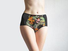 Hipster style panties with TROPICAL FLOWER PATTERN by Egretta Garzetta underwear